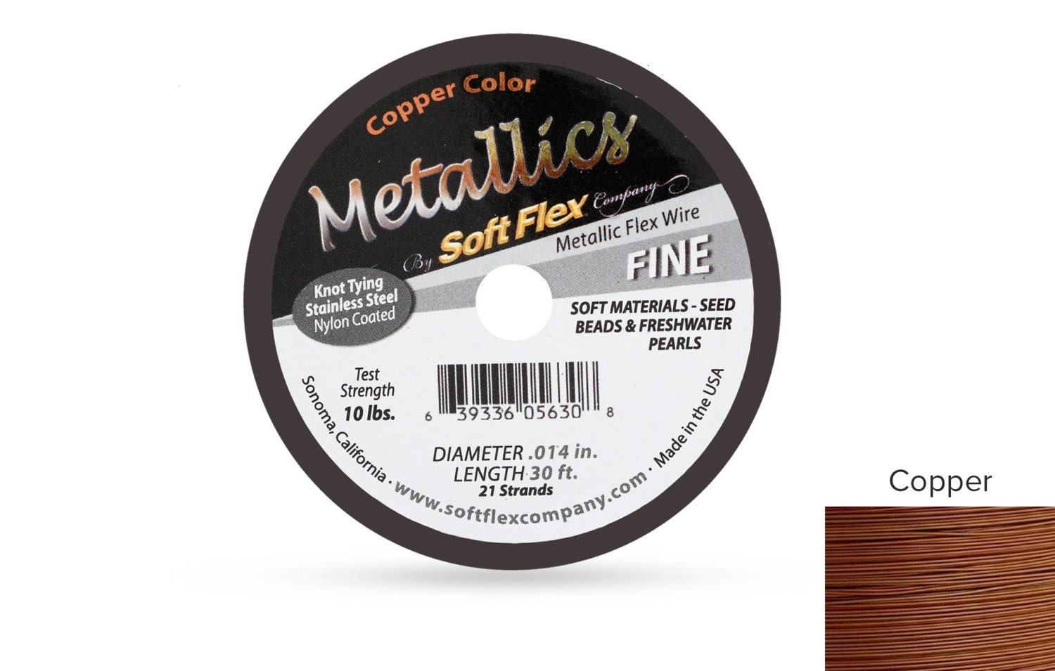 Soft Flex Metallics Copper Size Fine .014 30ft Spool Beading Wire ...