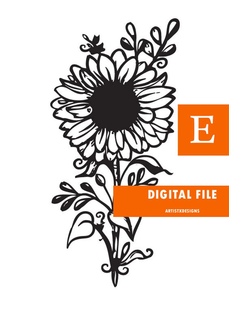 Download Sunflower Digital print and SVG file for Cricut cutter/ | Etsy