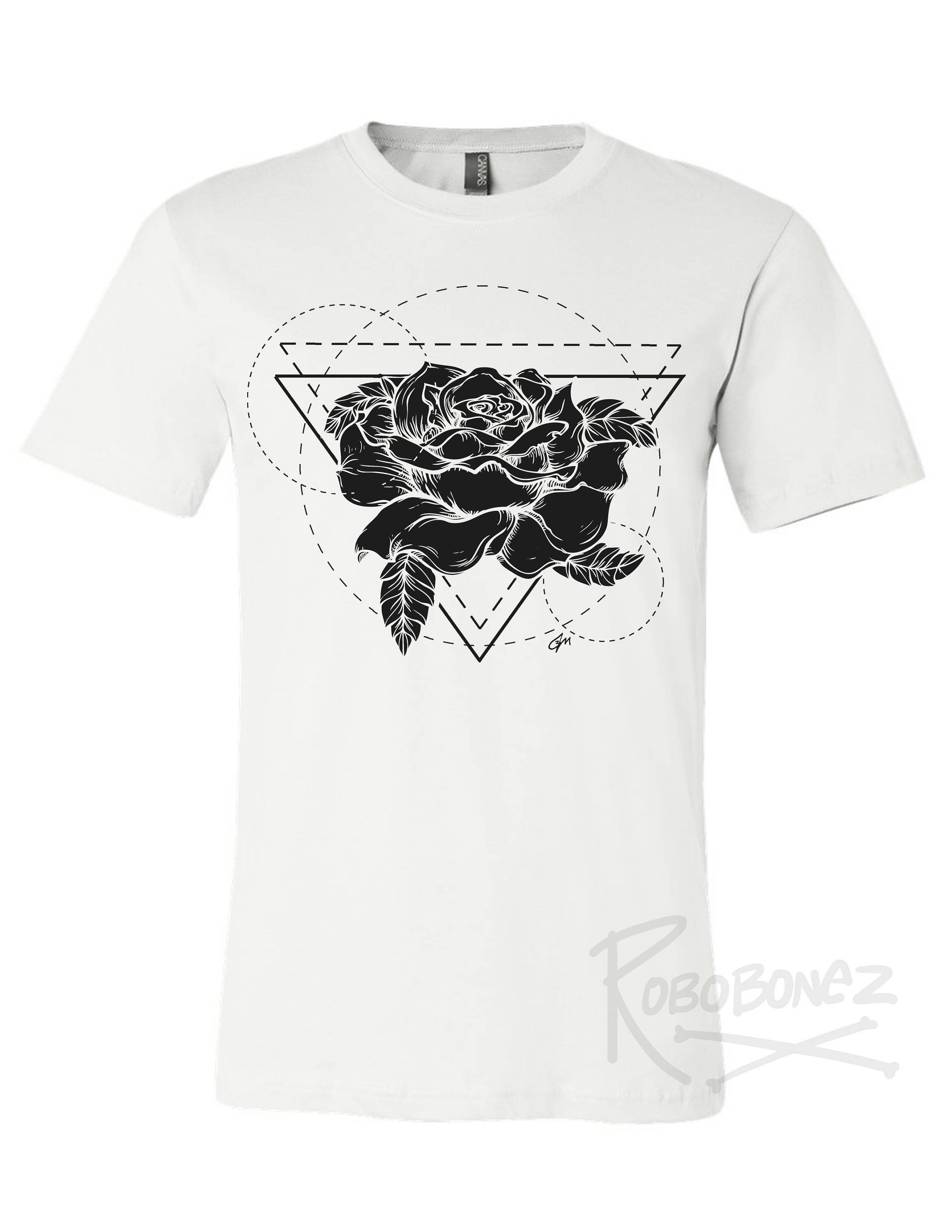 Black Rose Tshirtgeometric Rose T Shirt Design Tshirt Etsy