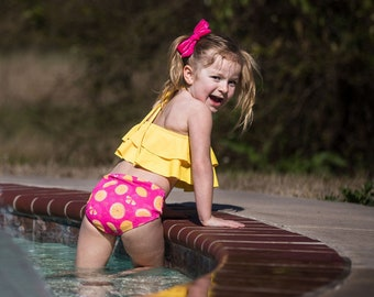 e9f114c30e Yellow Lemonade Two-Piece Ruffle Girls Swimsuit - Hot Pink and Yellow Lemon  Double Kids Baby Toddler Bathing Suit - High-Waisted Bottoms