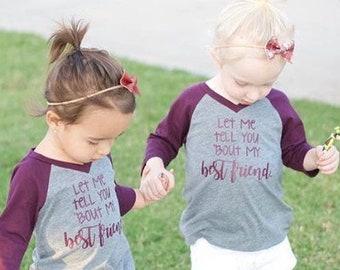 483e2291c Best Friend Kids Tees - Best Friends Raglan Toddler Baby Shirts - Besties -  Kids Baseball Tee - Gift - Girls Matching Maroon Shirt Tops