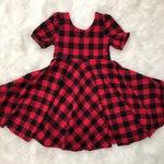 Winter Buffalo Plaid Scoop Back Twirl Dress - Red and Black Buffalo Plaid Long or Short Sleeve Mid Length Kids Girls  Dress
