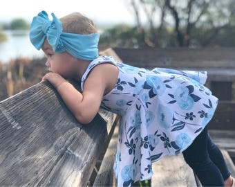 Spring White with Blue Floral Peplum - Girls Racerback Solid Tank Twirl Top - Kids Fit & Flare Shirt - Easter Sleeveless Tunic Dress