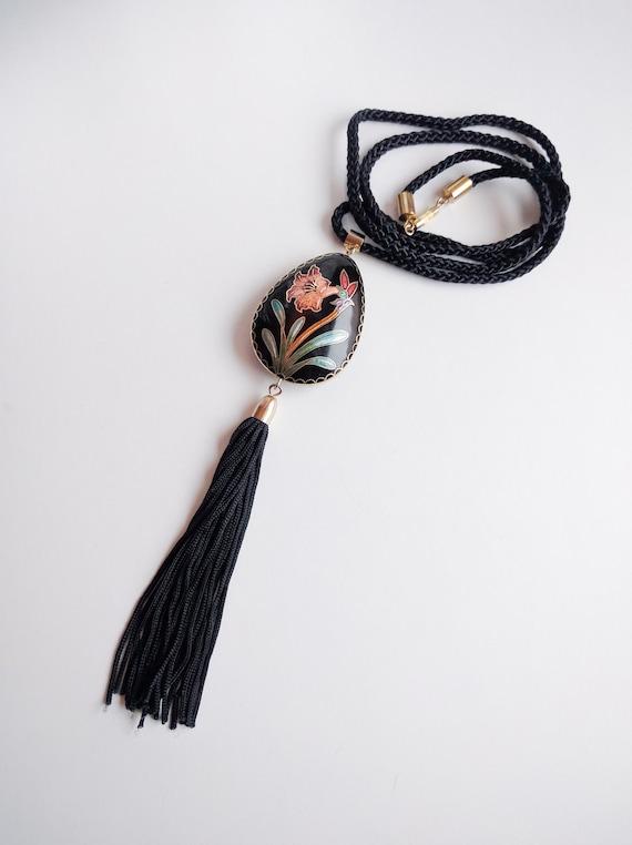Gorgeous 1980s Enamel Necklace w/ Silk Tassel