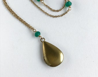 Vintage Miniature Locket with Green Agate Station Long Chain