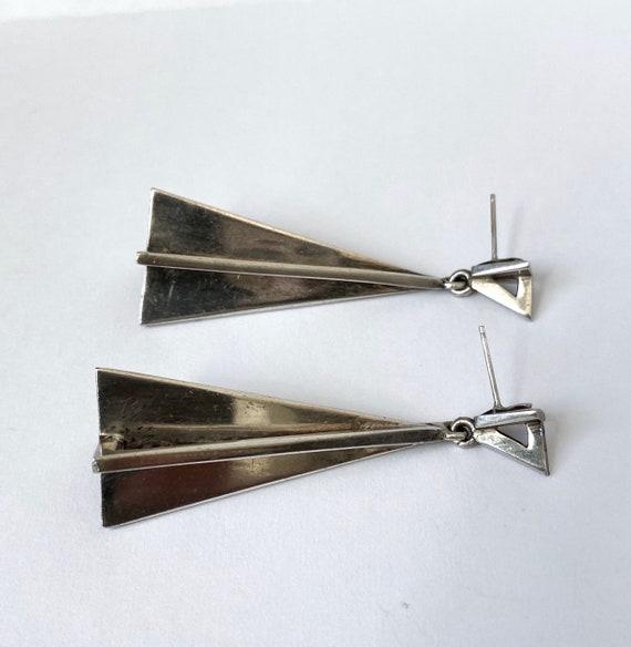 Galactic 1960s Space Age Sterling Earrings - image 6