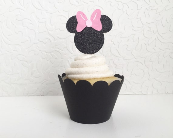 Minnie Mouse Cupcake Toppers (Set of 12) Custom Cake Topper, Smash Cake, Birthday Cake, 1st Birthday decor, First Birthday, Pink,