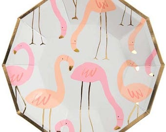 Flamingo Paper Plates 8 pack. Let's Flamingo. Pink Flamingo. Pink. Gold. Peach. Coral. Tropical Party. Summer Party. Spring. Birthday