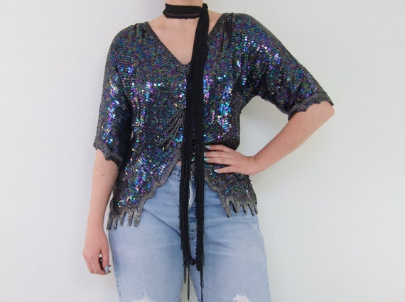 Sequin and Beaded Silk Statement Top | 70's Vintag