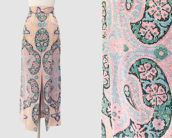 70's Pastel Print Midi Skirt | Vintage Paisley Pri