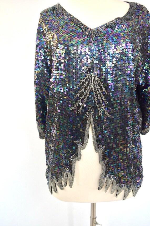 Sequin and Beaded Silk Statement Top | 70's Vinta… - image 2