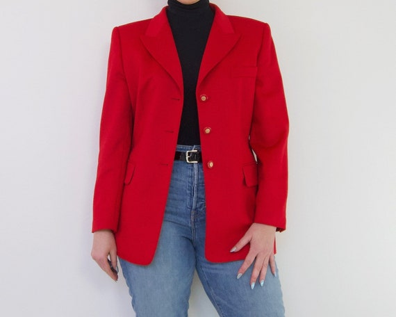 Escada Cherry Red Wool Cashmere Oversized Blazer |