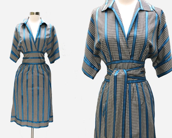 Adele Simpson Cotton Gingham Dress with Attached O