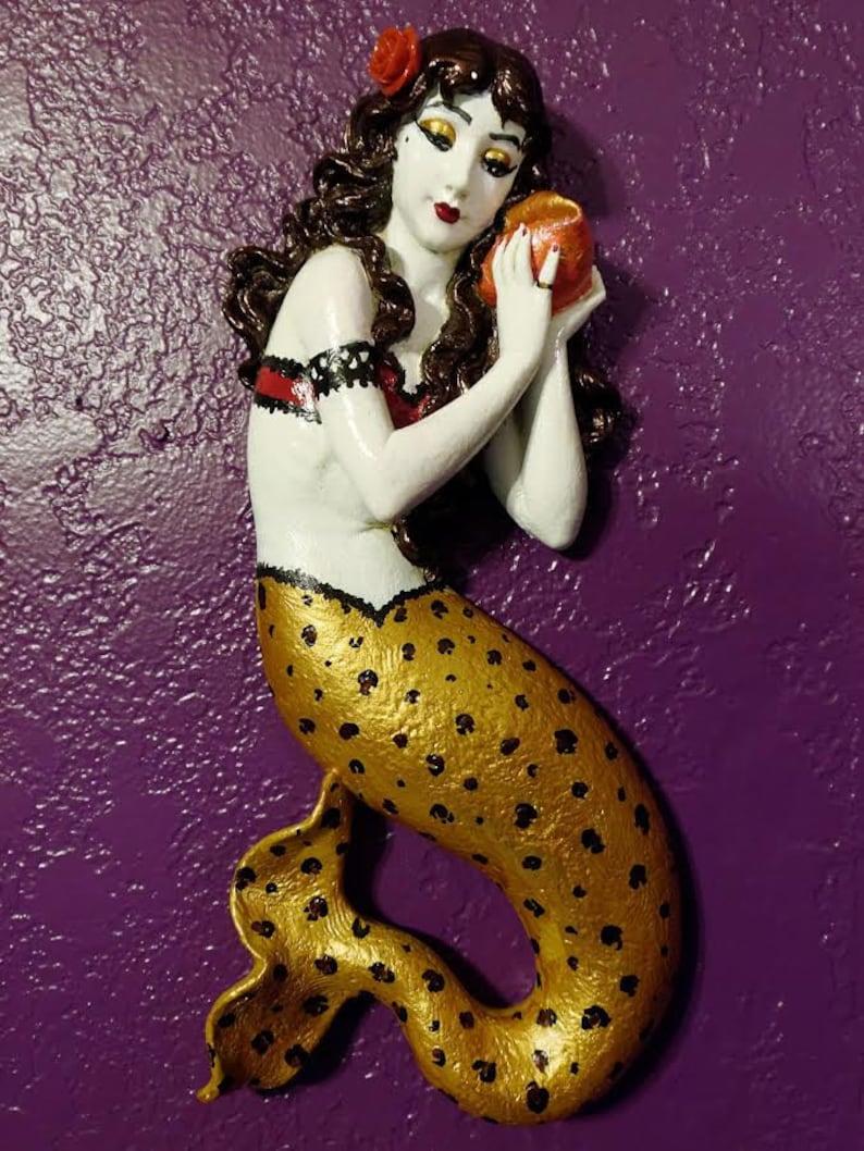 Rockabilly Mermaid w Leopard Print Tail