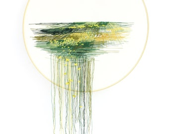 It All Falls Away; Landscape; Colorado Plains; Contemporary Embroidery