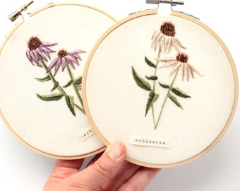 Botanical Embroidery Downloadable Pattern, Echinacea Pattern, PDF, Contemporary Embroidery Pattern