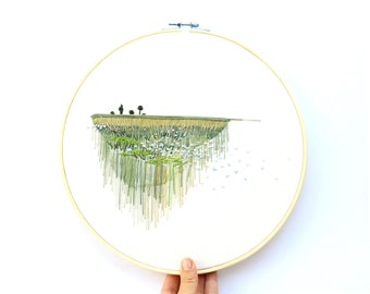 Flax Field Landscape Contemporary Embroidery, Colorado