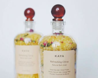 Citrus Bath Salts | 100% Natural | Spa & Relaxation | Dead Sea salts | 8 oz  or 13.5 oz Apothecary bottle