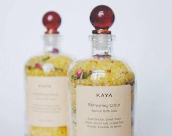 Citrus Bath Salts | 100% Natural | Spa & Relaxation | Dead Sea salts | 8 oz  or 13.5 oz | Apothecary | Self care