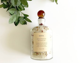 Patchouli Bath Salts | Floral Bath Soak | Detox | 100% Natural | Spa & Relaxation | 8 oz Apothecary bottle