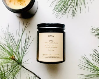 Citrus Soy Candle | 8 oz | Thanksgiving gift | Christmas Gift | Birthday gift