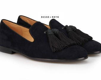 Resso Roth Men's Black Suede Loafers