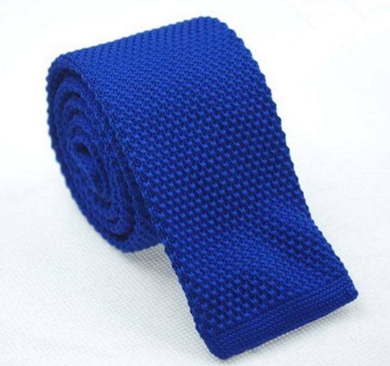 Royal Blue Knit Necktie Mens Knitted Tie Skinny Tie Wedding Etsy