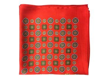 Silk Pocket Square / Pocket Handkerchief / Red Handkerchief / Mens Handkerchiefs Men Hanky / Silk Handkerchief