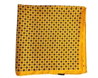Silk Pocket Square / Pocket Handkerchief / Yello Handkerchief / Mens Handkerchiefs Men Hanky / Silk Handkerchief
