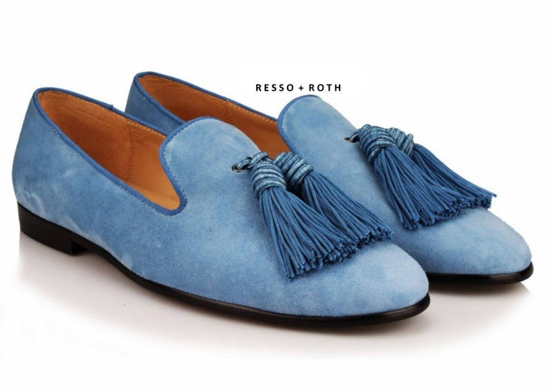 1c467e808ce Resso Roth Men s Blue Suede Loafers Belgian Loafers