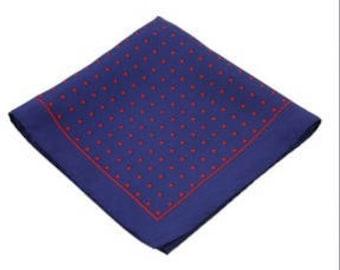 Silk Pocket Square / Pocket Handkerchief / Polka Dot Handkerchief / Mens Handkerchiefs Men Hanky / Silk Handkerchief