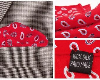 Silk Pocket Square / Pocket Handkerchief / Red Polka Dot Handkerchief / Mens Handkerchiefs Men Hanky / Silk Handkerchief