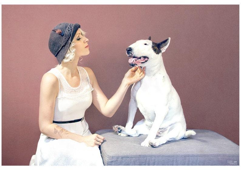 Vintage Love  Bull Terrier Photographic Art Print image 0