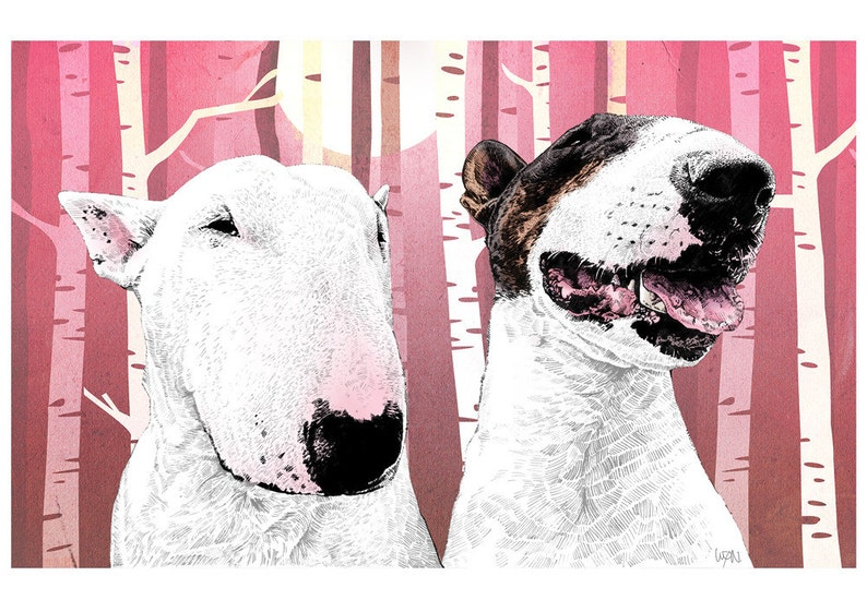 Melody and Riff  Bull Terrier Art Print image 0