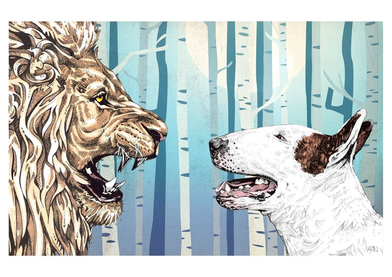 Lulu and The Lion  Bull Terrier Art Print image 0