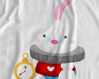Alice In Wonderland - White Rabbit - Iron On Transfer