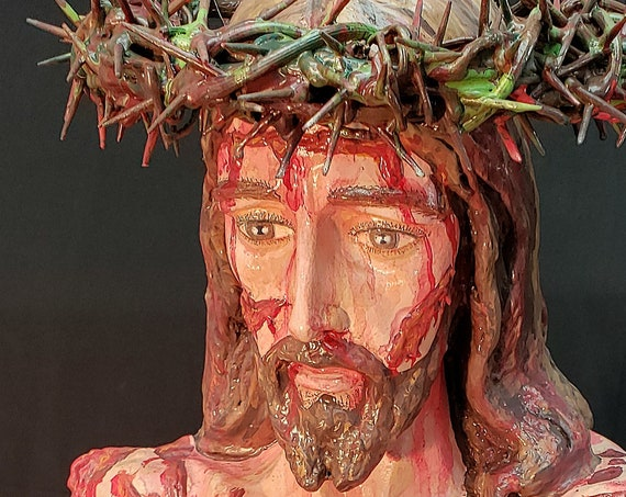 "Scourged Jesus 36"" fiberglass Statue Crown of Thorns Flagellation Whipped for Our Sins"