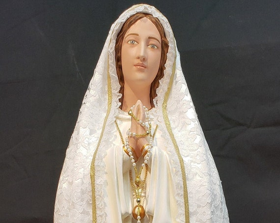 "Fatima 33"" with Crown Filigree/Metal Pilgrim Virgin Blessed Mother Our Lady Jacinta Francisco Lucia"