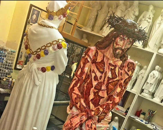 """Scourged Jesus 36"""" Whipped for Our Sins - Crown of Thorns Flagellation Fiberglass Statue"""