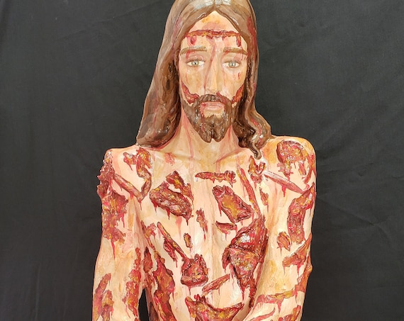 """36"""" Scourged Jesus fiberglass Statue Crown of Thorns Flagellation Whipped for Our Sins"""