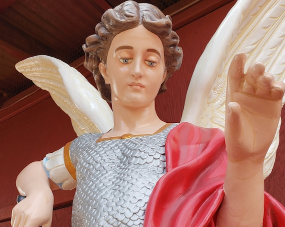 "St. Michael the Archangel 72"" (white) Fiberglass Statue"