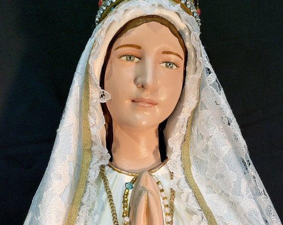 """Our Lady of Fatima 26"""" Pilgrim Virgin Blessed Mother Mary Jacinta Francisco Lucia"""