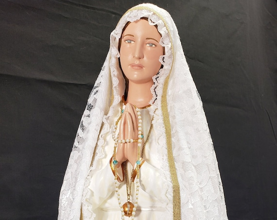 "Fatima 26"" with Crown Filigree/Metal Pilgrim Virgin Our Lady St. Jacinta St. Francisco Sr. Lucia"