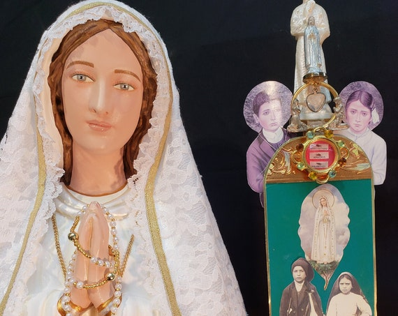 """Fatima 33"""" with Crown Filigree/Metal Pilgrim Virgin Blessed Mother Our Lady Jacinta Francisco Lucia"""