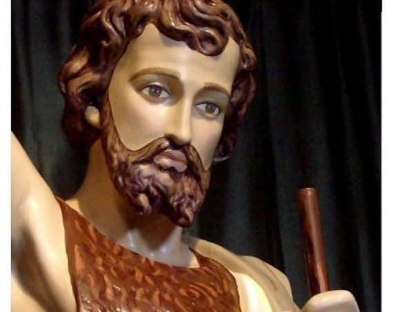 "St. John the Baptist 63"" (white) Fiberglass Statue"