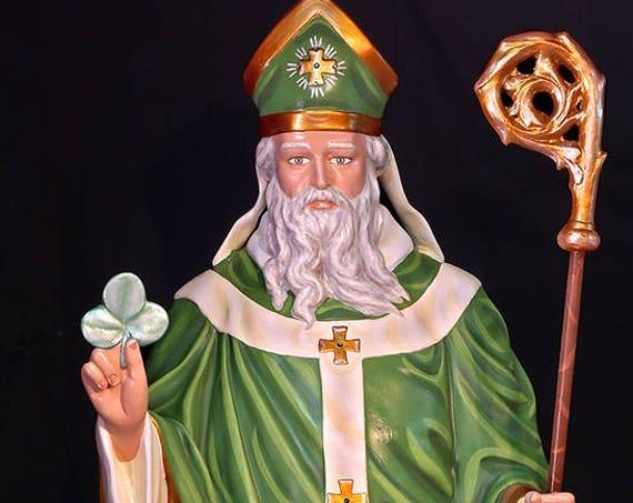 "St. Patrick of Ireland 60"" (white) fiberglass statue"