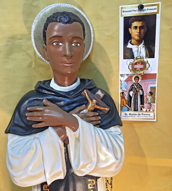 """St. Martin De Porres 26"""" Patron of Mixed Races, Barbers and Animals"""