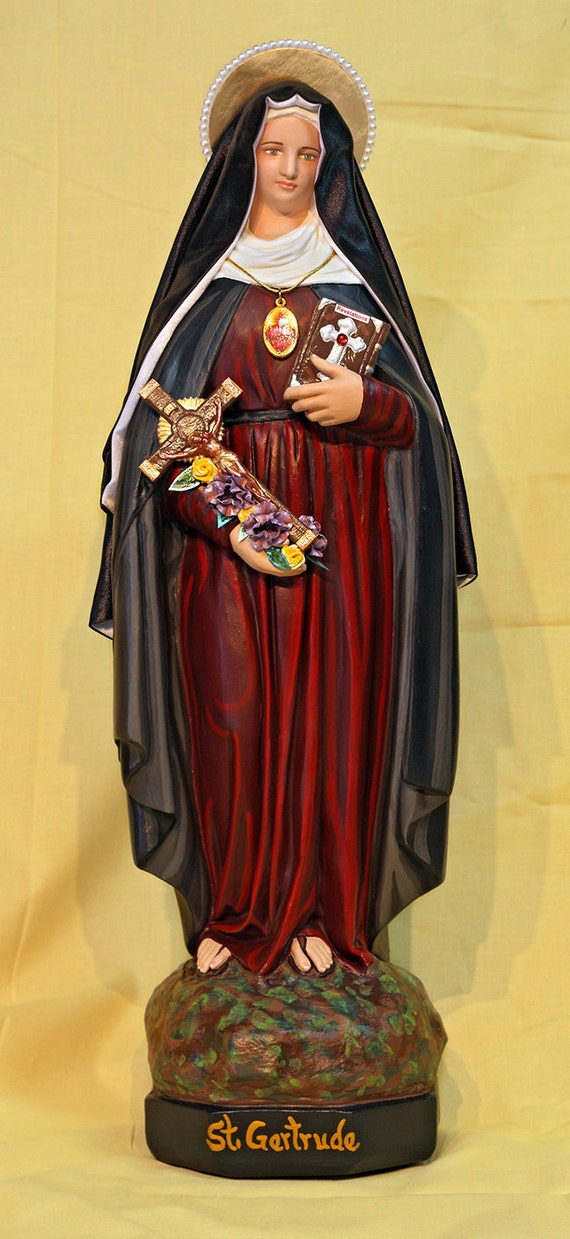 """St. Gertrude the Great 18"""" Patron Saint of Travelers"""