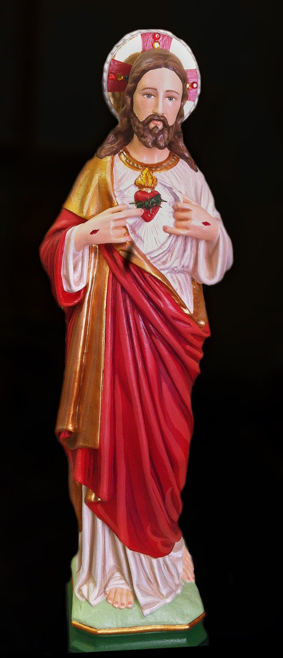"""Sacred Heart of Jesus 18"""" Patron of those in Poverty, Danger, Sorrow, Anxiety, spiritual darkness, despair & illness"""