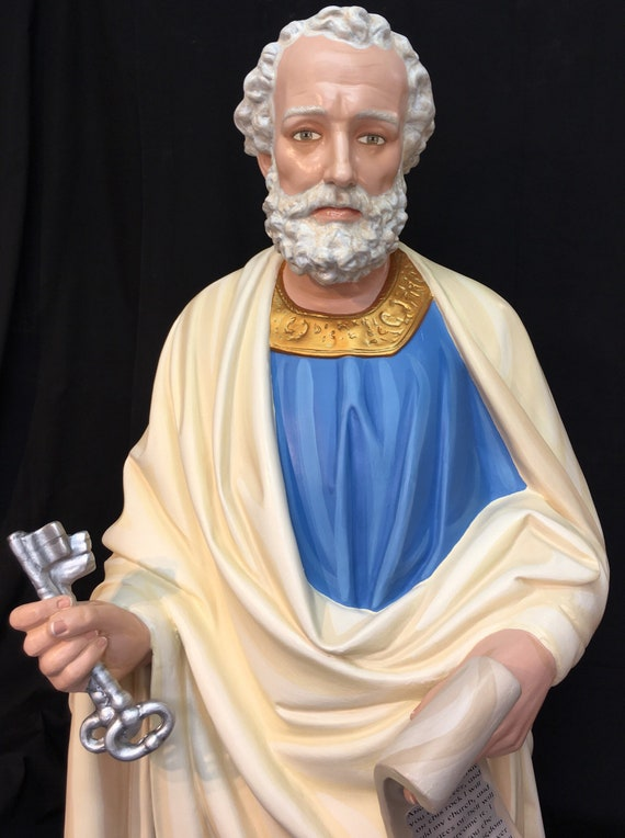 """St. Peter the Apostle 65"""" Fiberglass Statue (Fully Painted)"""